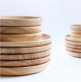 日式橡木圆盘原木碟子