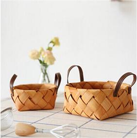 田园手工原木木片编织篮面包篮