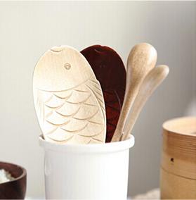 厨房原木鱼形木制饭勺