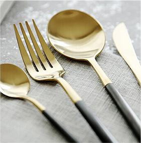 金银色拉丝不锈钢西餐餐具